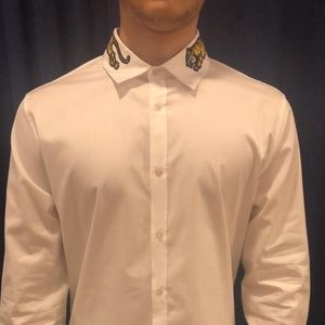 new Gucci Men's Casual Shirt Tiger Embroidered